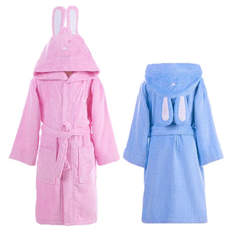 Boys Dressing Gown: Children Hooded Bathrobe Kids Boys Girls Cotton Lovely