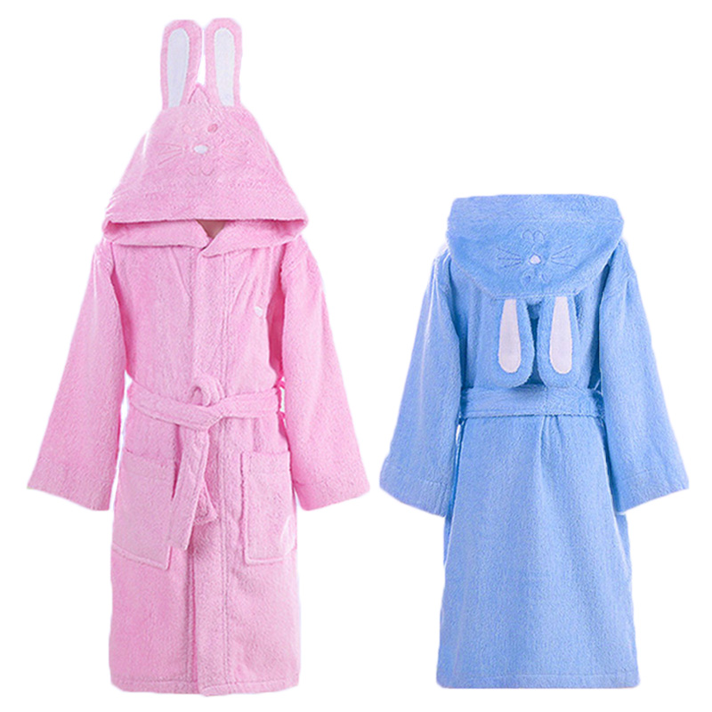 Robes Hooded Cotton Child Bathrobe Kids Boys Girls Robe Cotton Lovely Bath Robes Dressing Gown Roupao Kids Sleepwear With Belts Retail
