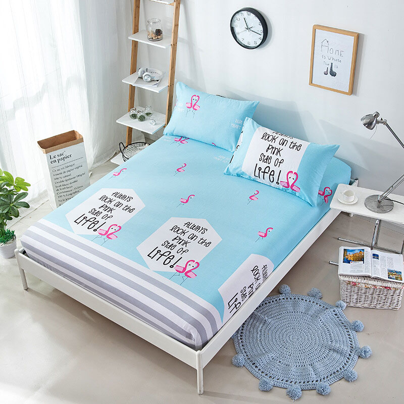 Geometric Stripe Cartoon Pattern Antibacterial Bed Cover Cotton Mattress Cover Machine Washable Breathable Double Bed SheetCD-09