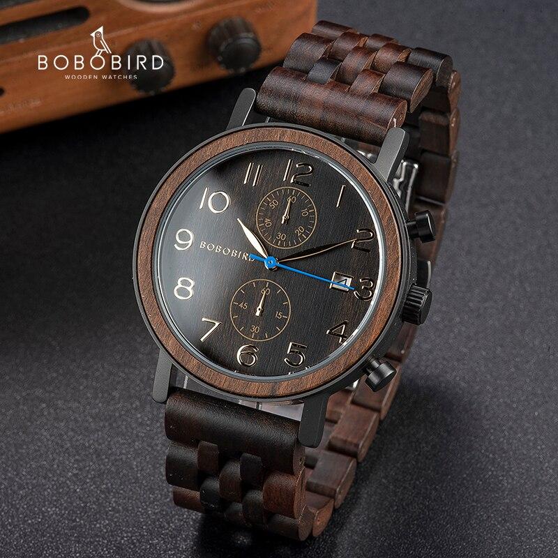 Relogio Masculino BOBO ptak drewniane mężczyźni oglądać Top luksusowa marka japoński mechanizm kwarcowy zegarki na rękę doskonałe prezenty dla mężczyzn