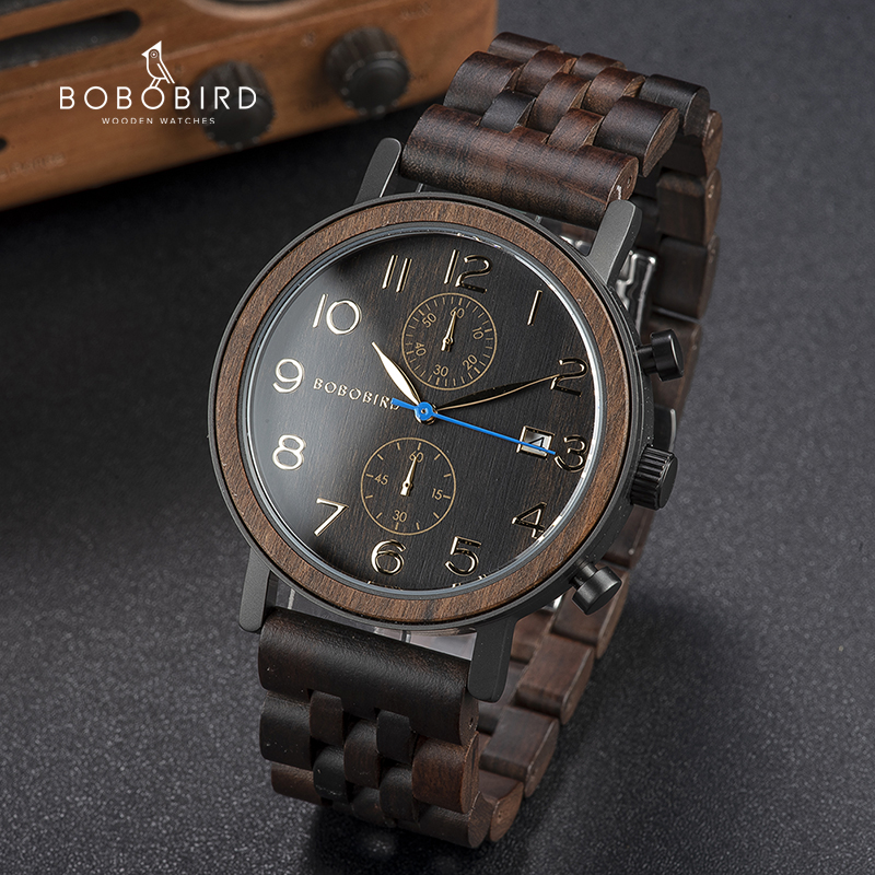 Relogio masculino bobo pássaro de madeira relógio masculino topo marca de luxo movimento japonês relógios de quartzo grandes presentes masculinos dropshipping