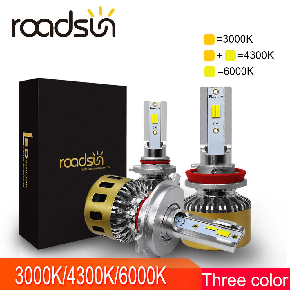 roadsun Car Headlight Bulb LED H7  H4 H11 H1 9005 9006 HB3 LED lights Kit 72W 4300K 3000K 6000K Auto Accessories Spot Lamp CSP