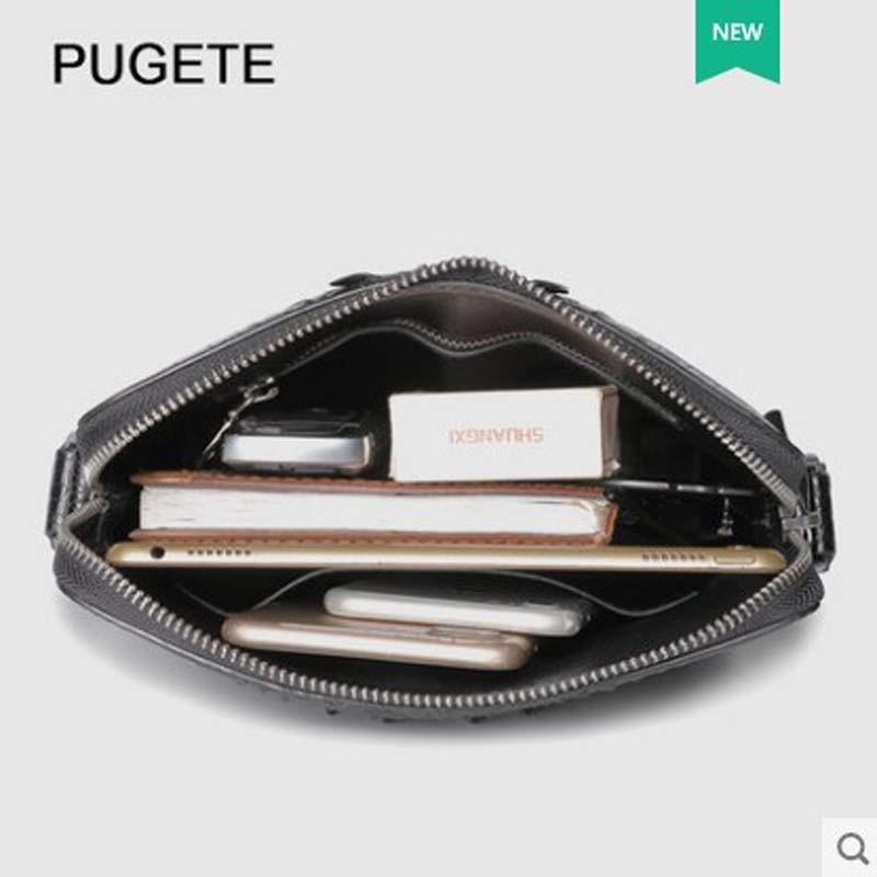 pugete 2019 new Crocodile skin man bag leather business single shoulder bag youth leisure cross bag fashion crocodile man bag - 2