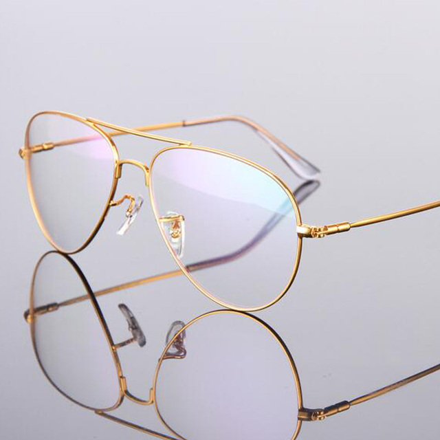 1f511b9ca6 Transparent Gold Clear Glasses Titanium Alloy Eyeglasses Women Frame Retro Men  Optical Spectacle Clear Gold Clear