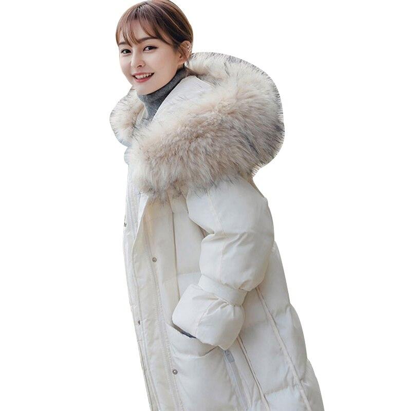 Nouveau white Parka Renard Blanc 2018 Survêtement Hiver Le Capot Long Overknee Col Black Femmes Coton Rembourré Bas Fourrure Mode Vers Femelle Hj01 gray Veste Manteau De 1rT4zqw1