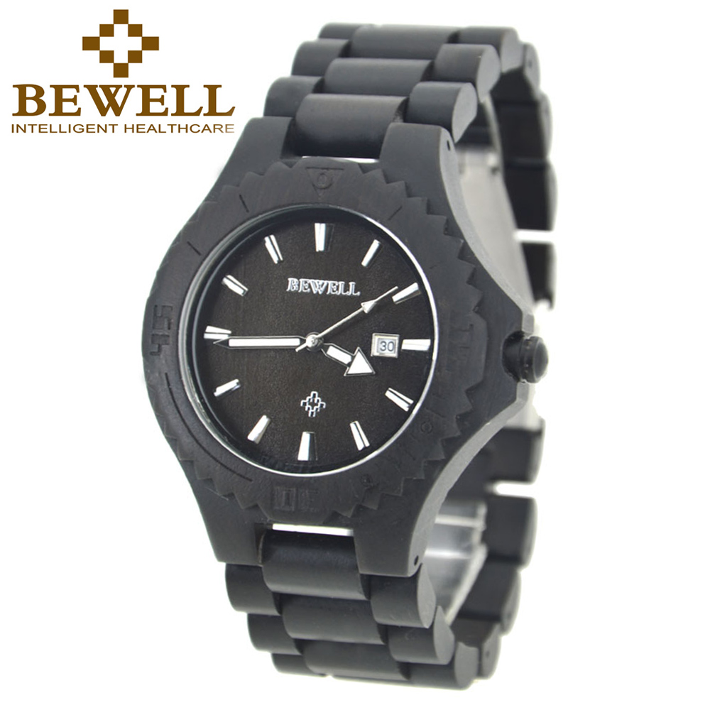 BEWELL Quartz Wooden Watch Natural Black Watch Handmade Sandalwood Watches for Men Luminous Pointers Date Display in Box 023BBEWELL Quartz Wooden Watch Natural Black Watch Handmade Sandalwood Watches for Men Luminous Pointers Date Display in Box 023B