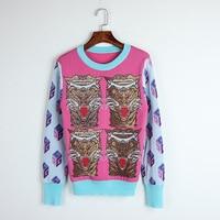 Phụ nữ hồng mùa thu mùa thu len len Mỏng O-Cổ chui knit 4 leopards mẫu áo len top tiger mùa đông Màu Xanh