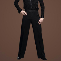 new Black Satin Ribbon On Side Men's Latin Pants Mens modern Ballroom Dance Pants Latin Dance Pants Men Men's trousers