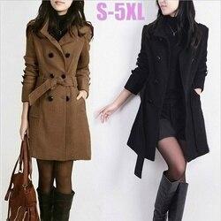 2019 outono cinto longo plus size jaqueta de lã casual grosso duplo breasted casaco feminino bolsos trench camelo casaco fino