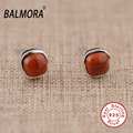 New 100% real pure 925 sterling silver jewelry red agate elegant stud earrings fashion jewelry for women free shipping TRS30713