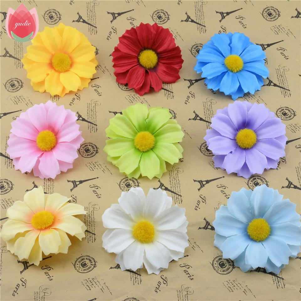 Flower heads for crafts - 2016 5pcs Lot 7cm Silk Flower Head Artificial Sunflower For Wedding Diy Floral Home Decoration