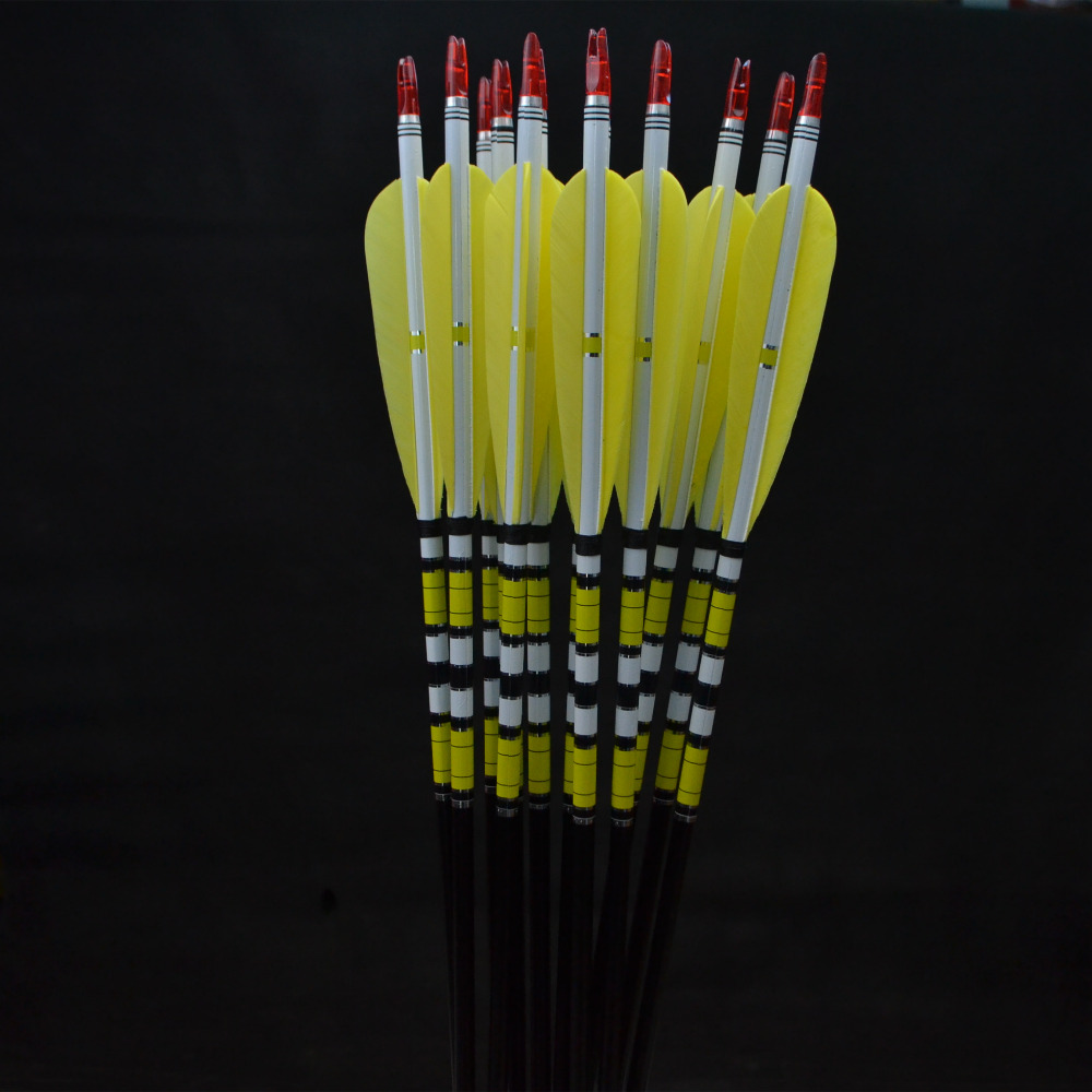 12x 31  Spine 400-600 yellow Aluminum arrows for hunting recurve bow or longbow wholesale archery equipment hunting carbon arrow 31 400 spine for takedown bow targeting 50pcs