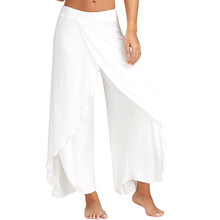 New Fashion Women Summer Casual Wide Leg Pants Solid Color Women Loose Stretch High Waist Wide
