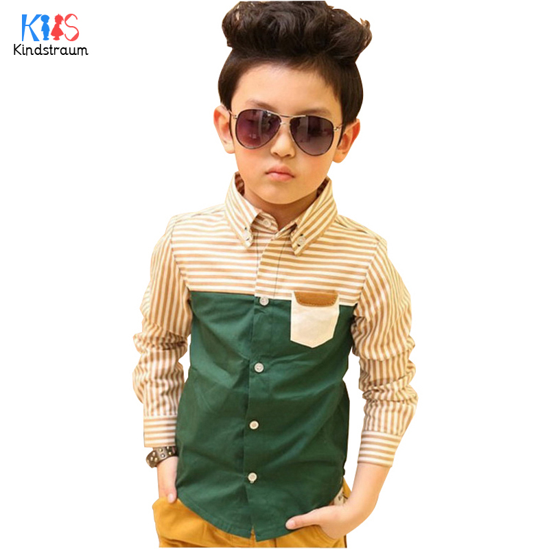 82a971cbe 2018 جديد أطفال الربيع مخطط قميص الأطفال patckwork قمصان طويلة الأكمام  الخضراء الأزياء الصبي قمم الاطفال الملابس ، HC176