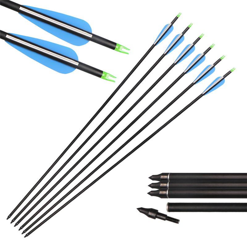 Free shipping 6pcs/pack archery mixed carbon arrows spine 600 OD 7.8mm shooting practice arco recurvo arrow mixed ring pack 10pcs