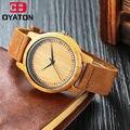 Nova Moda de Madeira Relógio de Pulso Com Pulseira De Couro Relógios Homens Marca De Luxo Retro Bamboo Assista As Mulheres Se Vestem de Quartzo WatchRelojesHombre