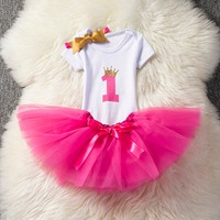 2016 New Formal Newborn Baby Girl Pleated Dress For Birthday Party Christening Tiered Clothes WIth Pearl