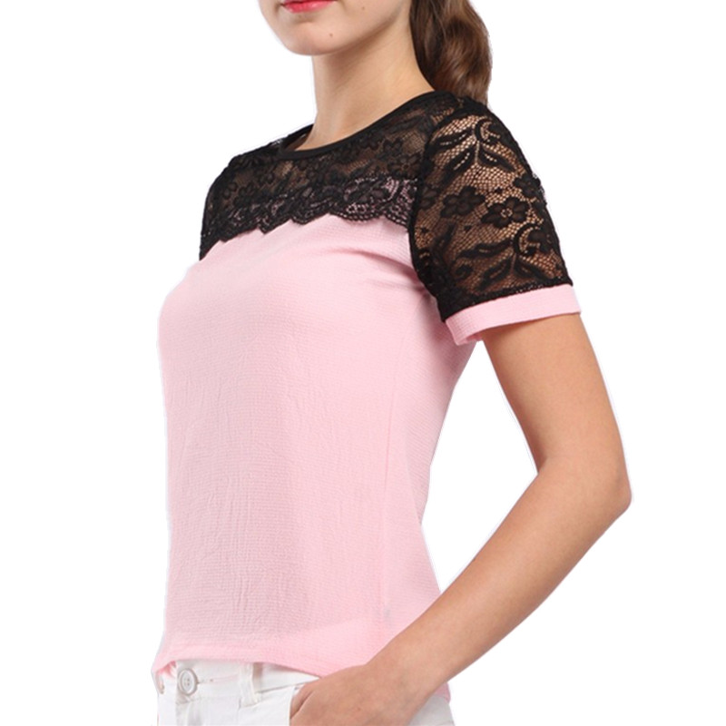 Women Blouses Casual OL Lace Chiffon Blouse Summer Loose Shirt Work Wear Blusas Feminina Tops Shirts Plus Size XXXL/5XL Pink/Red