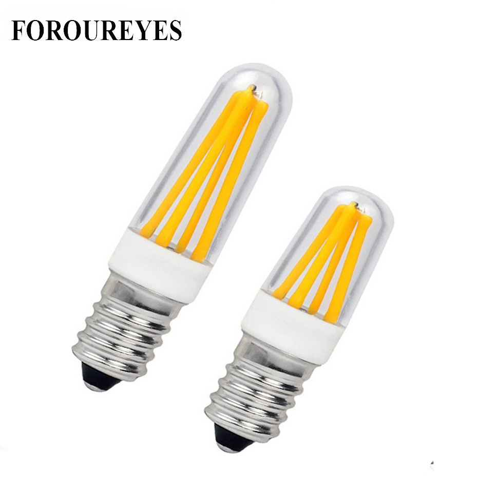 4PCS E14 E12 LED Lamp 220V 110V 2W 4W Filament COB Bulb refrigerator light crystal chandelier replace 20W 30W Halogen t20 refrigerator led filament bulb 1w