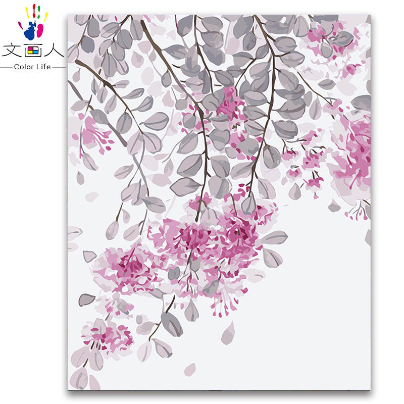 Pink flowers branch leaves pictures digital oil painting coloring by numbers with paint kits for girls practise for hoom decor