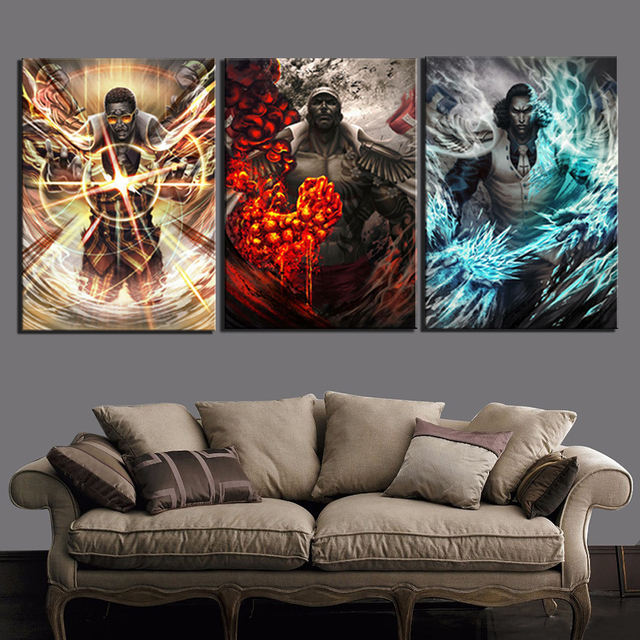 Hd Prints Painting Modular Canvas 3 Panel One Piece Pictures Wall Art Animation Home Decoration Modern Bedside Background Poster