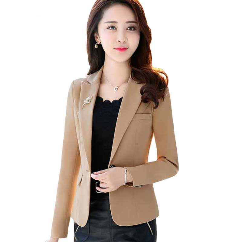 2019 Spring Women Slim Blazer Coat Plus Size 2XL Casual Jacket female Long Sleeve One Button Suit Blazers Work Wear Coats Y1162
