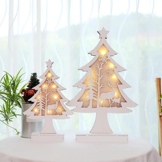 wooden christmas tree shiny led light ornaments hotel window holiday christmas festivla decoration gifts battery powered