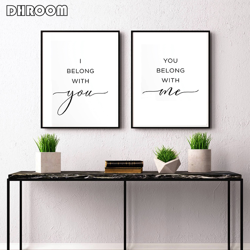 I Belong with You You Belong with Me Wall Art Wedding Gift Poster Couple Canvas Print Painting Nordic Minimalist Bedroom Decor in Painting Calligraphy from Home Garden