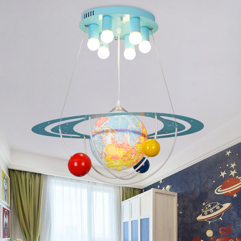 Creative cartoon globe chandelier boy bedroom childrens room light American modern simple LED planet Chandelier free shippingCreative cartoon globe chandelier boy bedroom childrens room light American modern simple LED planet Chandelier free shipping