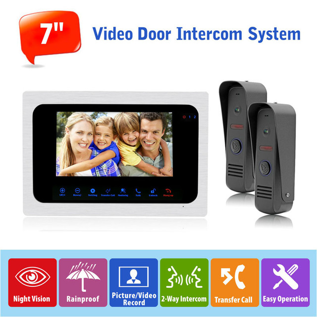 "7""TFT Touch Monitor HD 1200TVL Video Doorbell Camera Door Phone Intercom System IP65 Waterproof,Trigger Alarm Recording/Picture"