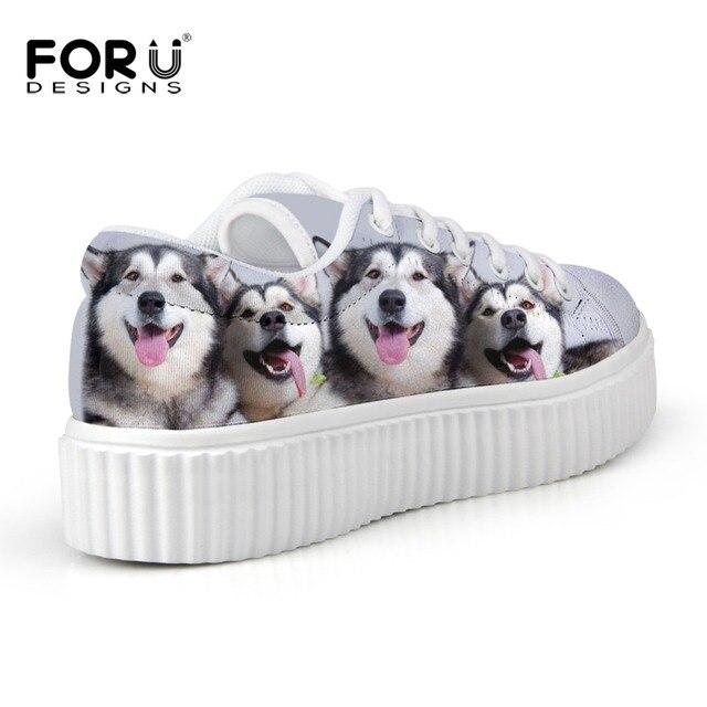 De las mujeres Zapatos Casuales Zapatos Bajos Zapatos de Plataforma Estilo Blanco, Super Lindo Huskies Impreso Zapatos Planos Respirables, Zapatos Femeninos Calidad mujer