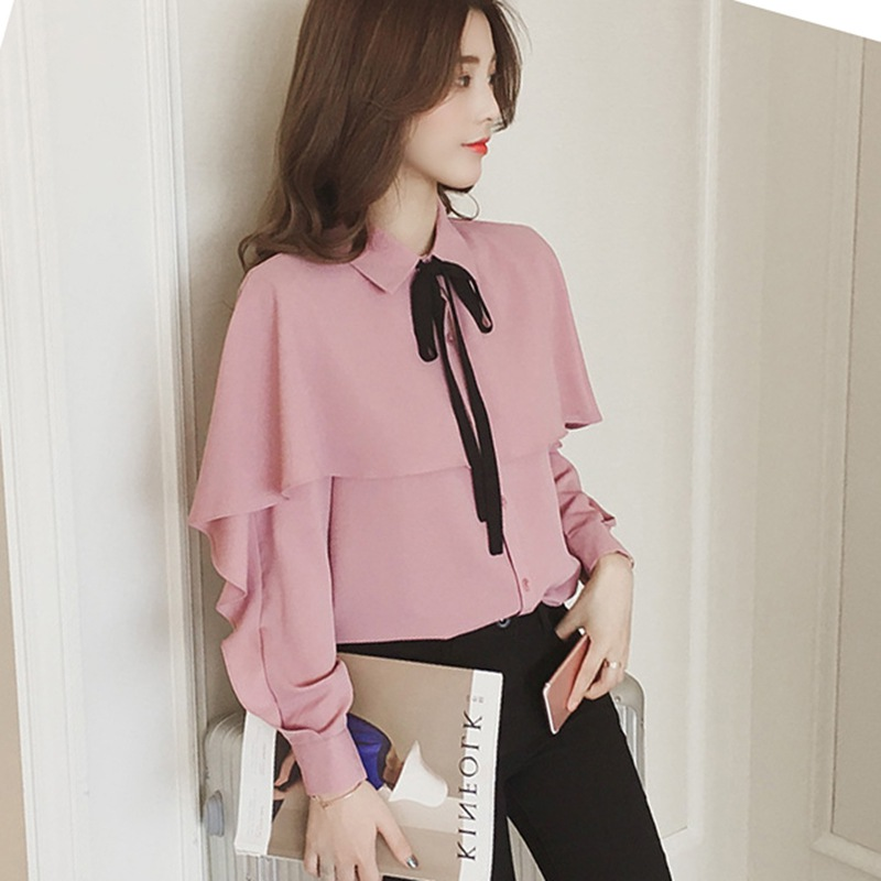 Women Lace-up Bow Collar Blouse Lantern Sleeve Solid Color Ruffled Sweet Shirts Female Long Sleeve Wild Shirt Casual Tops Z1