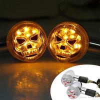 크롬 레드 오토바이 3D 해골 해골 LED 노란색 차례 신호 빛 사용자 지정 부품