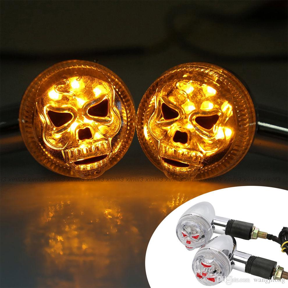 Chrome Red Motorcycle 3D Skull Skeleton LED Yellow Turn Signal Light Custom Part