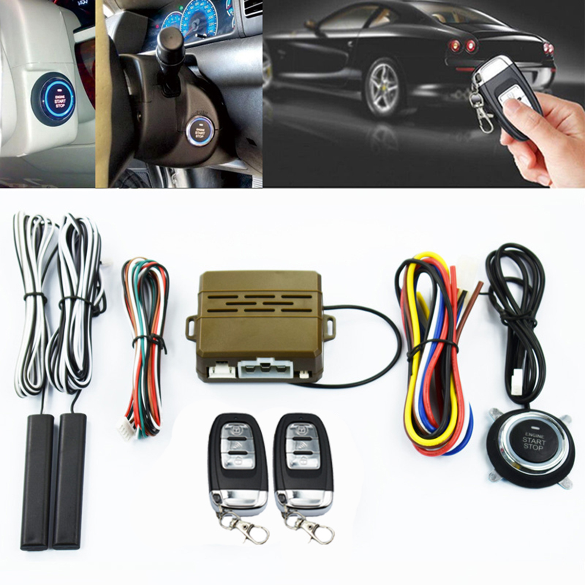 12V Entry Remote Button Starter Keyless Push PKE Ignition Car System Engine Alarm With 2 Smart remote control