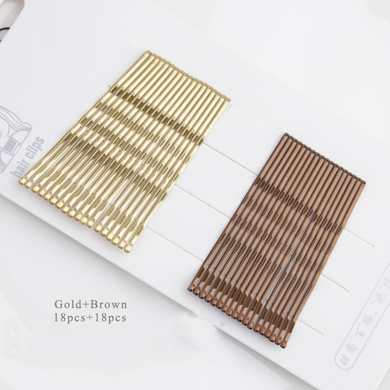 36pcs New Fashion Women Basic Waved U Shape Hairpins Gold Black Brown Bobby Pins Salon Hair Grips Invisible Hair Holder Quality