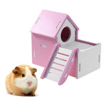 Cute Mini Small Animal Pet Hamster House Nest Rabbit Hedgehog Pet Sleeping Log Cabin Animal Sleeping House Supplies Toys Gift(China)