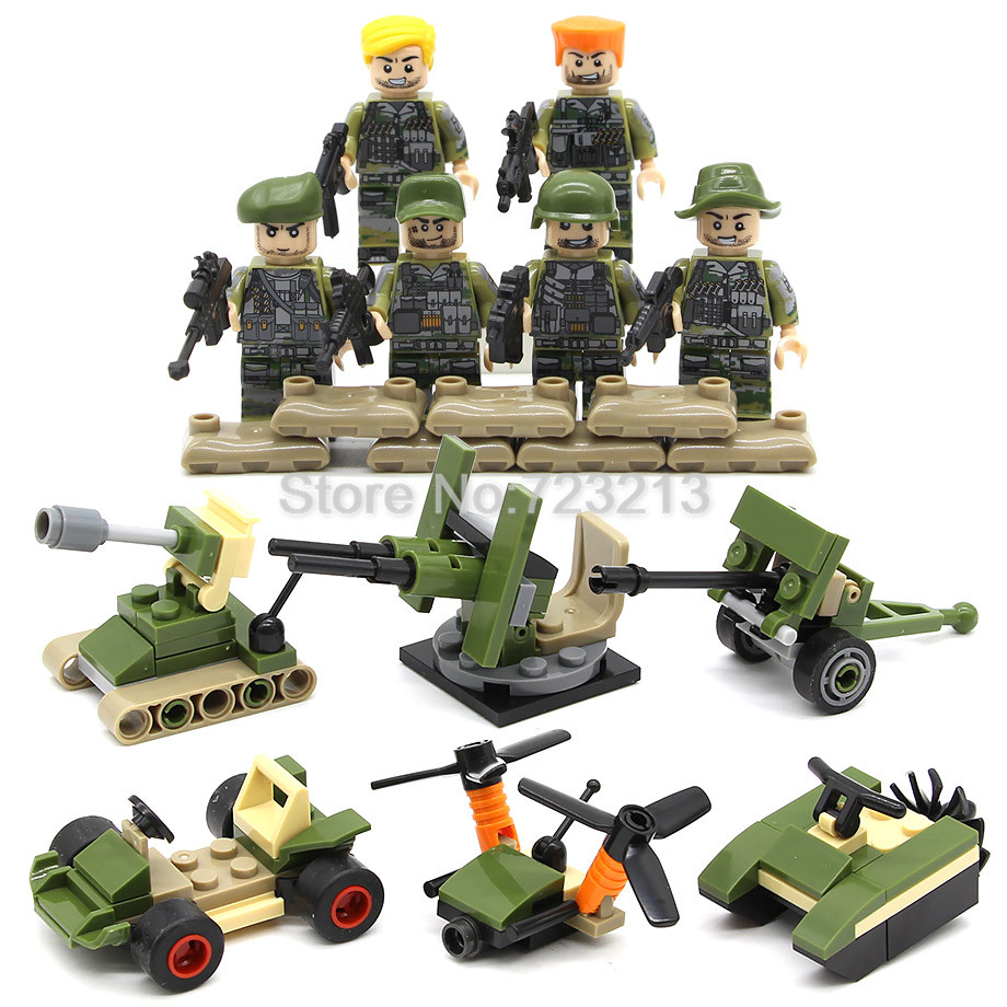 6pcs/lot Military Soldier Figure Set weapon SWAT Model Building Blocks kits Educational Toys for Children HY115