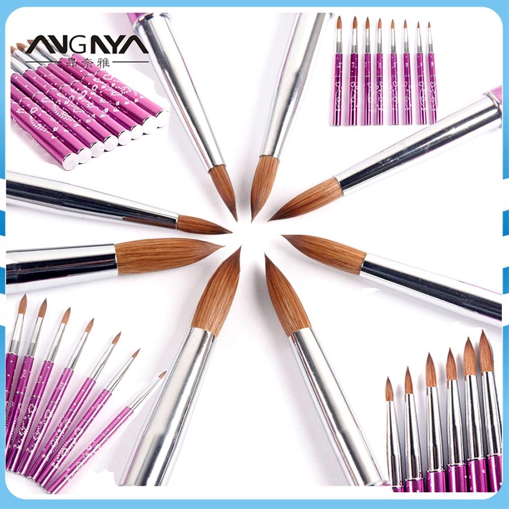 ANGNYA New 1pcs #2#4#6#8#10#12#14#16#18#20#22 Kolinsky Sable Brush Acrylic Nail Art Brush Purple Metal Crystal Acrylic Salon osaka acrylic nail kolinsky brush 14