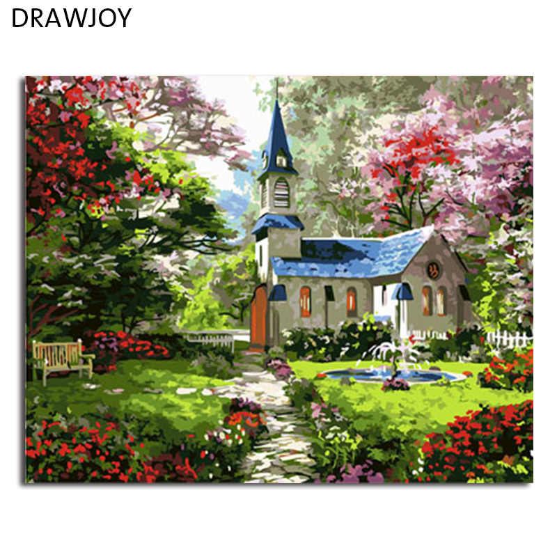 DRAWJOY Framed Picture DIY Painting By Numbers DIY Oil Painting On Canvas Home Decoration For Living Room 40*50cm
