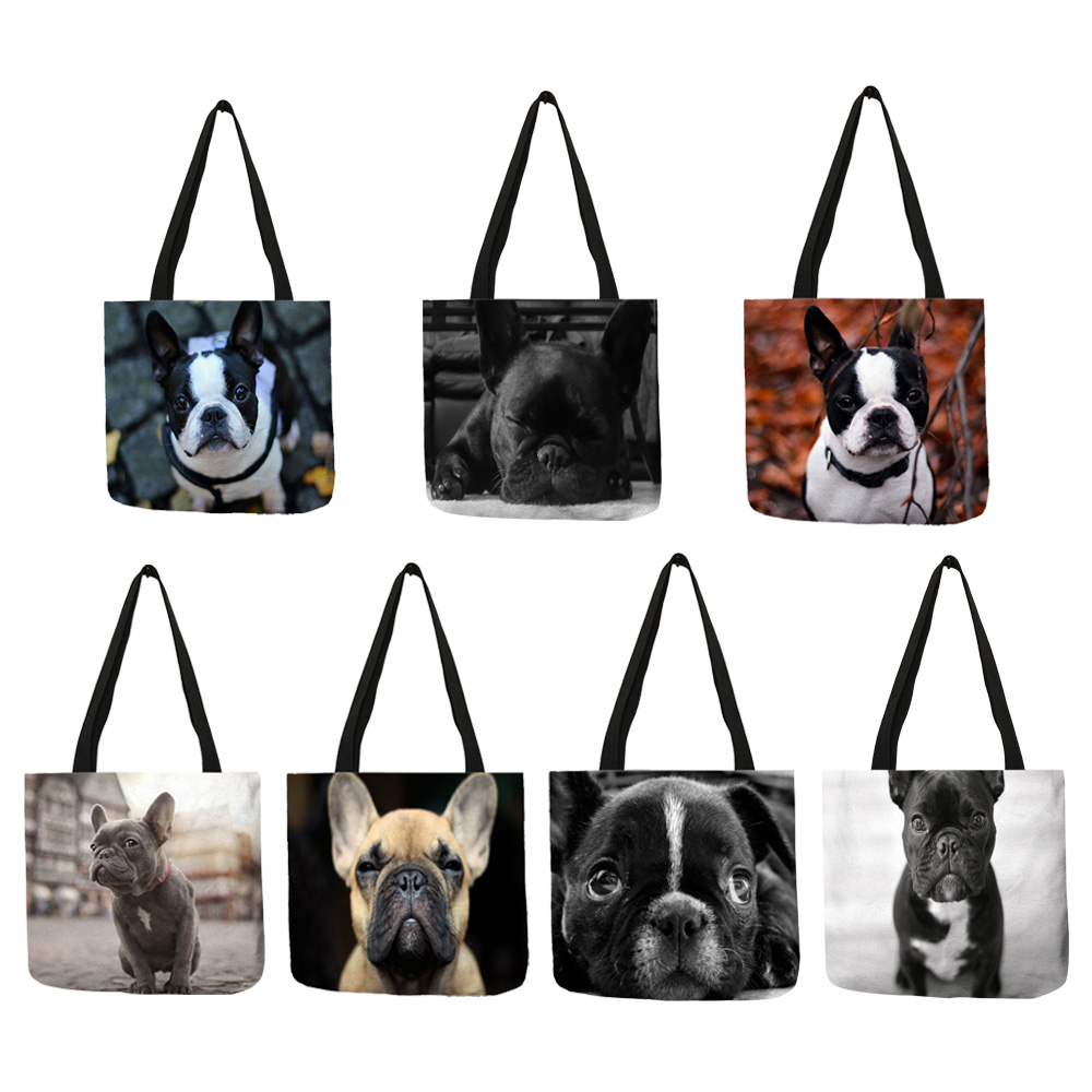 Shopping Bags French Bulldog Travel Custom Reusable Handbag Women Shoulder Cloth Pouch Foldable Girl Olils Large Linen Bag