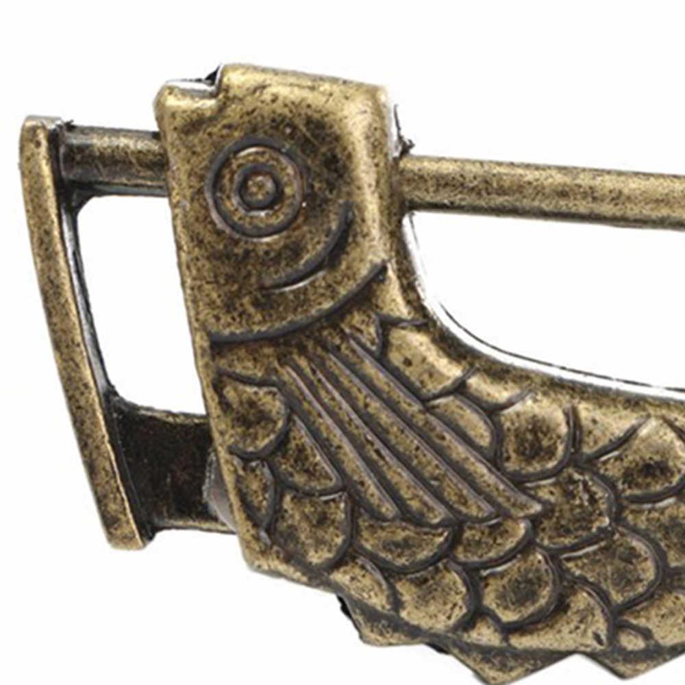 Cadenas en laiton rétro Vintage chinois Antique Style ancien boîte à bijoux serrure à poisson et clé pour la décoration intérieure horizontale rétro serrure à poisson en cuivre