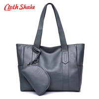 Cloth Shake Fashion PU Leather Women Pure Color PU Pattern Messenger Bags 2pcs Purse And Handbags