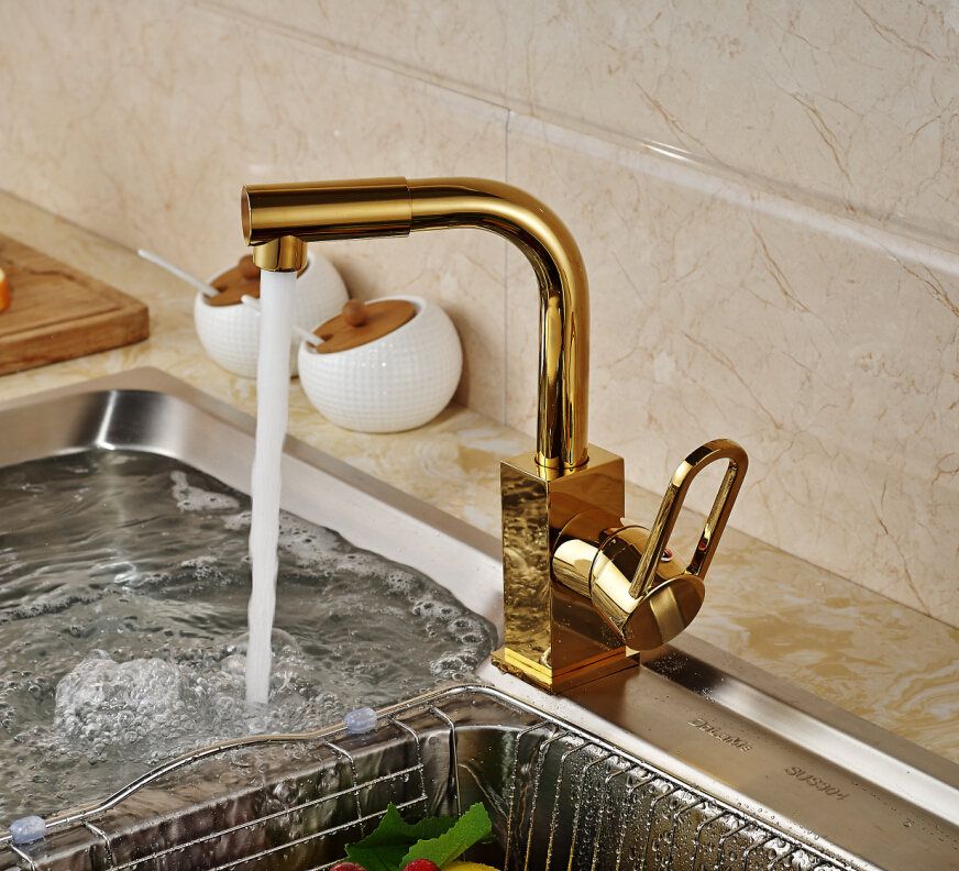 Golden Brass Kitchen Faucet Swivel Spout Vessel Sink Mixer Tap Hot and Cold Water Deck Mounted swivel spout chrome brass kitchen faucet dual sprayer vessel sink mixer tap hot and cold water