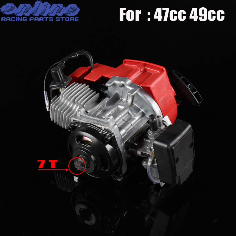 47cc 49cc Pocket Bike 2 Stroke Pull Start Engine For Mini Go Kart Dirt Bike Petrol Scooter ATV Pocket Bike Motor 116 460mm t8f chain links with spare master link for 47cc 49cc 2 stroke dirt pocket mini moto cross bike atv quad go kart