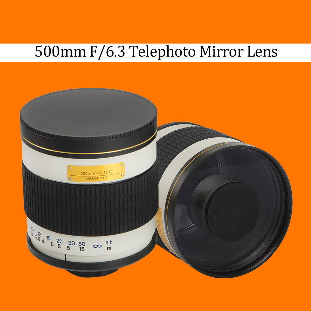 500mm F / 6.3 Telephoto Mirror Lens + T2 Mount Adapterring voor Canon Nikon Pentax Sony Olympus DSLR