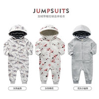 M-18, autumn baby boys girls romper suit, long sleeve zipper jumpsuit, Sharks, Flowers
