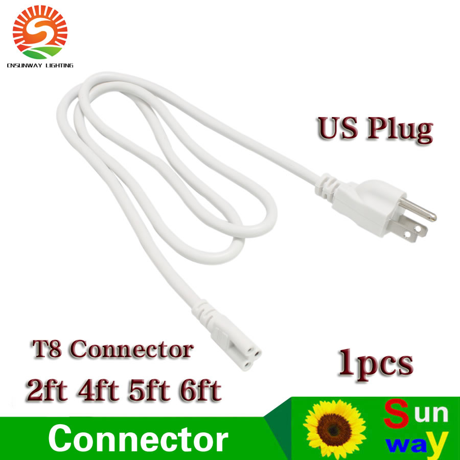 1pcs <font><b>T8</b></font> T5 Connector 3 Wires 2ft 3ft 4ft 5ft 6ft Power Cords With US <font><b>Plug</b></font> For Integrated Led Tube Lights image