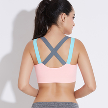 THUNSHION Sports Bra Breathable Female Top Sexy Cross Strap Push Up High Impact Running Bra for Fitness Yoga Gym Top Sports