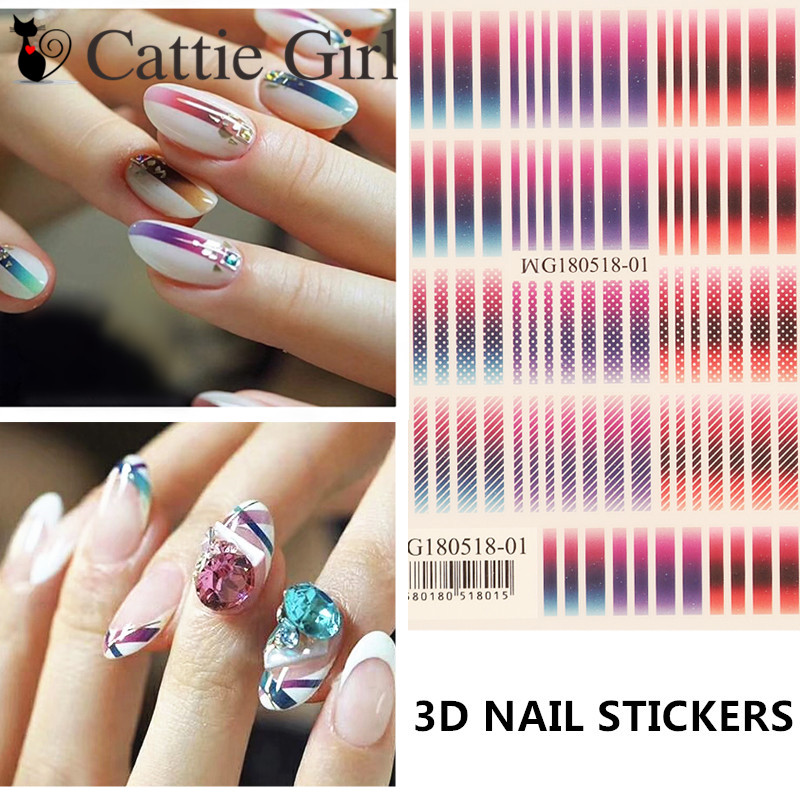 1 Sheet Dotting 3D Nail Art Transfer Stickers Graddient Colorful DIY Nail  Designs Nail Accessories for 6505c51828db